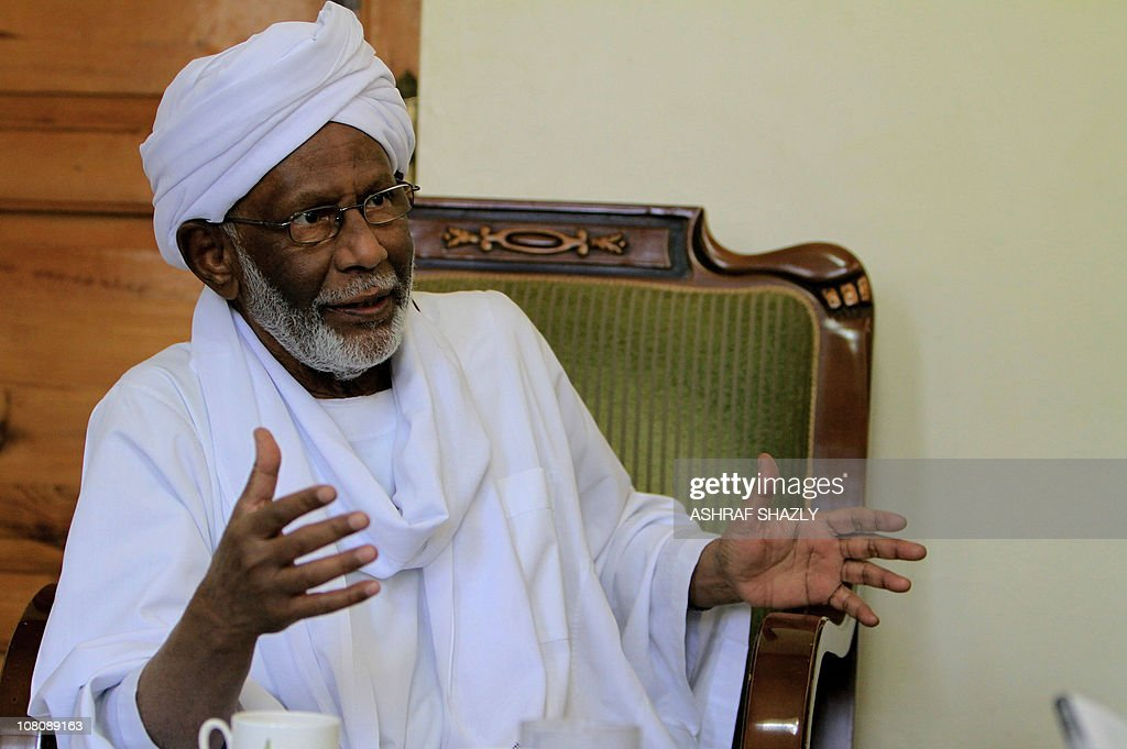 Sudanese Islamist opposition leader <a gi-track='captionPersonalityLinkClicked' href=/galleries/search?phrase=Hassan+al-Turabi&family=editorial&specificpeople=590997 ng-click='$event.stopPropagation()'>Hassan al-Turabi</a> gives an interview to AFP in Khartoum on January 17, 2011, during which he said that a Tunisia-style uprising is 'likely' in northern Sudan amid mounting economic woes and fears over the looming secession of the south.