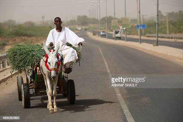 Sudanese man rides a donkey and cart across a bridge spanning the Nile that was developed under the government of Sudanese President Omar alBashir in...