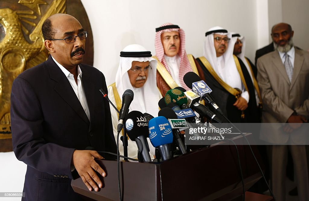 Sudanese Oil Minister Ahmed Mohamed al-Karuri (L) and Saudi Oil Minister Ali al-Naimi (2-L) speaks during a press conference following a meeting in Khartoum on May 4, 2016. Al-Naimi arrived in Khartoum for a one-day visit aimed at stepping up Riyadh's investments in its new east African ally Sudan. Sudan has moved closer to Saudi Arabia in recent months after severing relations with Shiite Iran, in a bid to attract investments to boost its dilapidated economy. SHAZLY