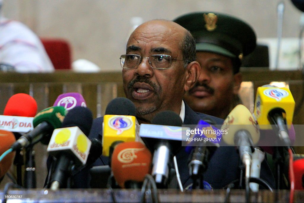 Sudanese President Omar al-Bashir addresses the opening of the Second Forum membership of the World Federation of Trade Unions in Africa, on February 4, 2013, in Khartoum.