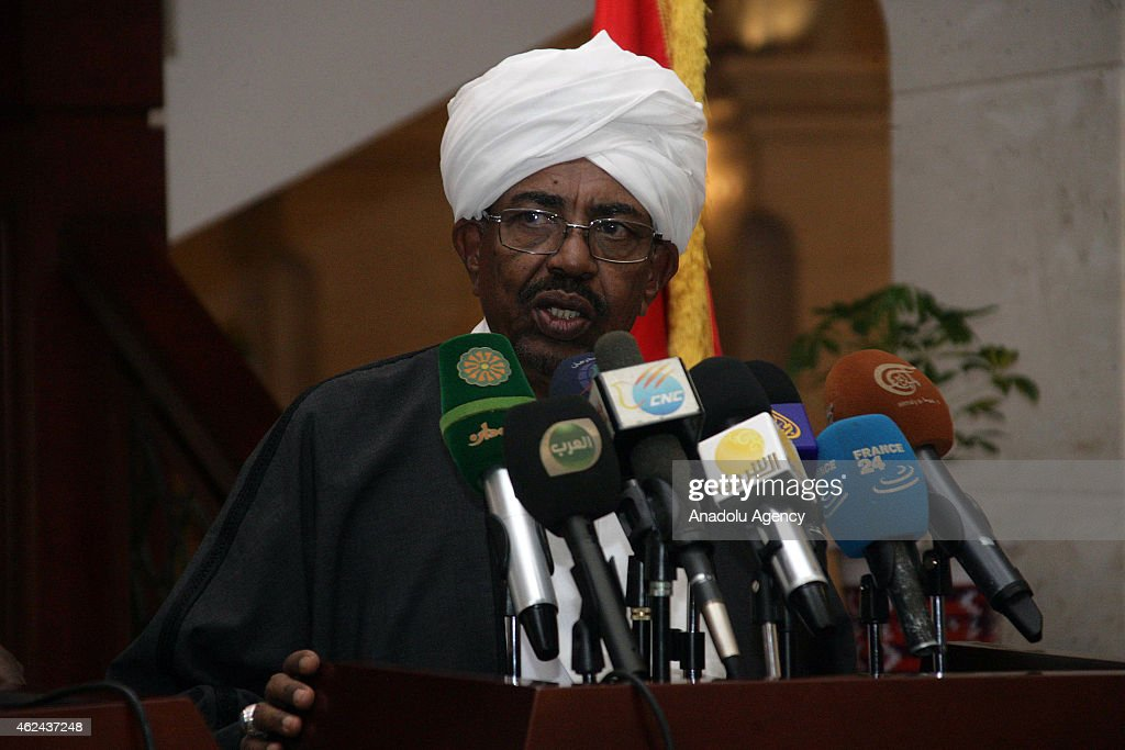 Sudanese President Omar al-Bashir and his Chadian counterpart Idriss Deby (not seen) hold a joint press conference following their meeting in Khartoum, Sudan, on January 28, 2015.