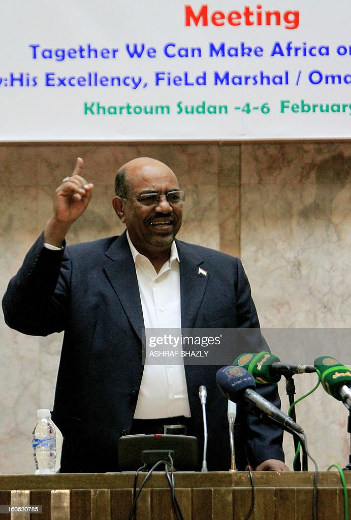 Sudanese President Omar al-Bashir gestures as he attends the opening of the Second Forum membership of the World Federation of Trade Unions in Africa, on February 4, 2013, in Khartoum.