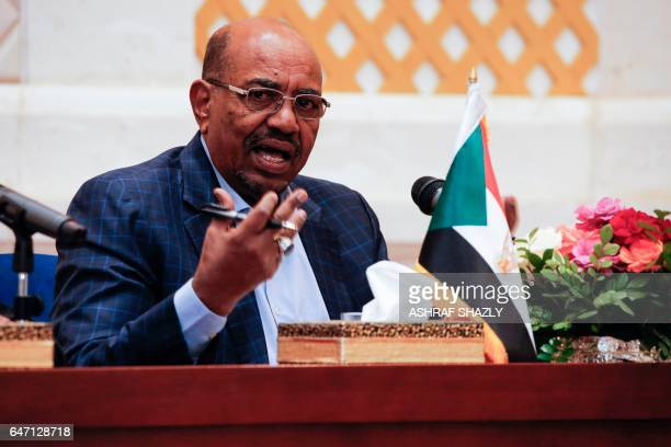 Sudanese President Omar alBashir gives a press conference in the presidential palace in the capital Khartoum on March 2 2017 Bakri Hassan Saleh a...