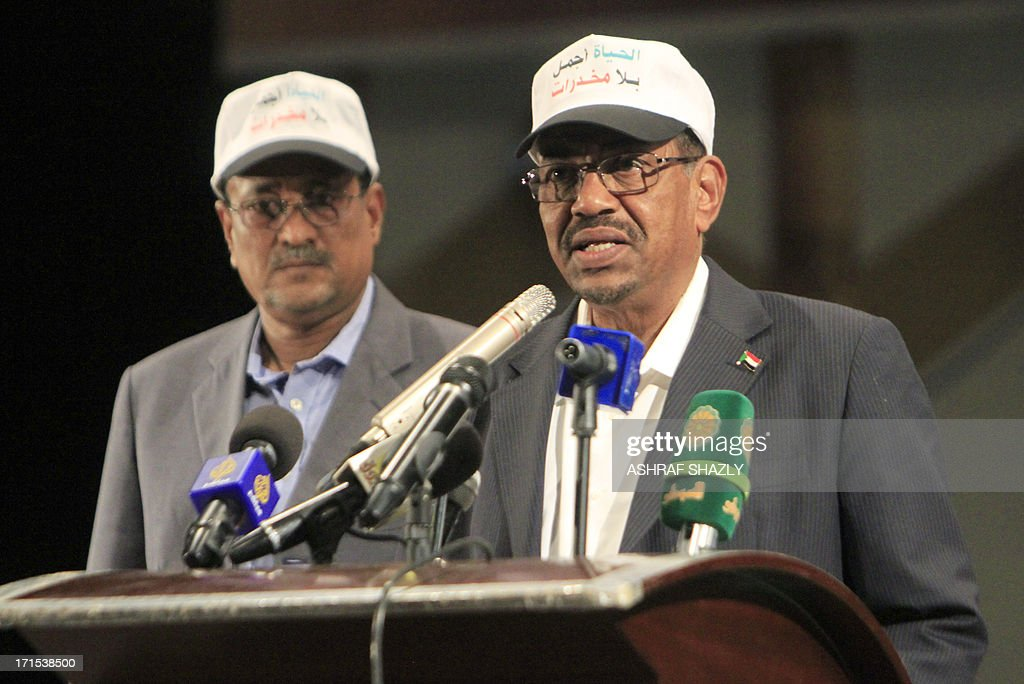 Sudanese President Omar al-Bashir gives a speech to mark the International Day Against Drug Abuse and Illicit Trafficking in Khartoum on June 26, 2013. Governments everywhere are struggling to cope with an increase in the number of new drugs known as 'legal highs', according to a United Nations Office on Drugs and Crime (UNODC) report adding that the use of traditional drugs such as heroin and cocaine is globally stable. AFP PHOTO / ASHRAF SHAZLY