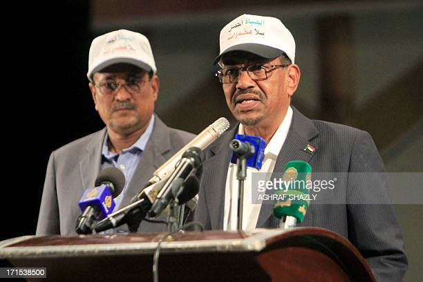 Sudanese President Omar alBashir gives a speech to mark the International Day Against Drug Abuse and Illicit Trafficking in Khartoum on June 26 2013...