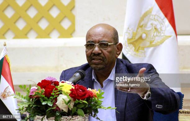 Sudanese President Omar alBashir holds a press conference at Presidential Mansion in Khartoum Sudan on March 02 2017