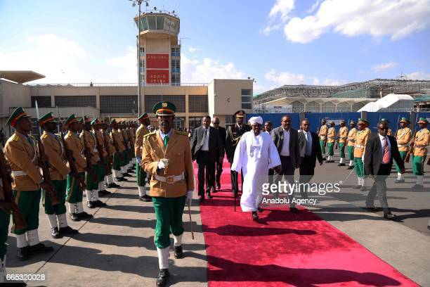 Sudanese President Omar alBashir is being see off by Ethiopian Prime Minister Hailemariam Desalegn at Bole International Airport in Addis Ababa...