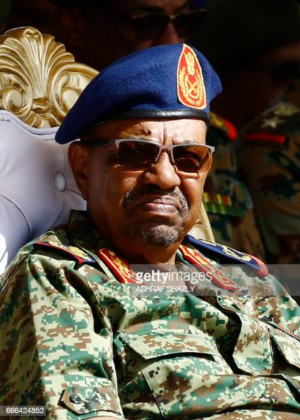 Sudanese President Omar alBashir watches the joint Sudan and Saudi Arabia air force drill at the Marwa air base near Meroe some 350 kilometres north...