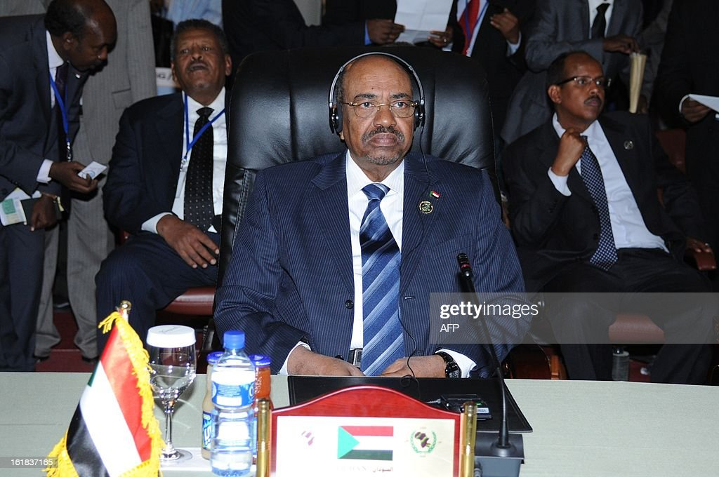 Sudanese President Omar Hassan Ahmad al-Bashir sit during a meeting gathering leaders from the Community of Sahel-Saharan States (CEN-SAD) in N'Djamena on February 16, 2013. Leaders in Africa's Sahel region called on February 16 for further efforts to support Mali as they announced new funds to back a West African force in the country.
