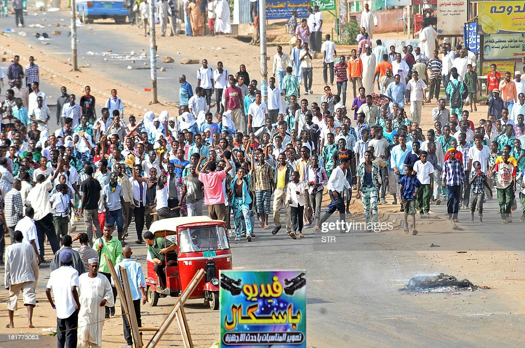 Sudanese protestors demonstrate in Khartoum's twin city of Omdurman after the government announced steep price rises for petroleum products after...