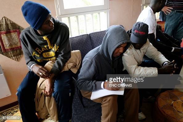 Sudanese refugees register their names after their arrival in the 'Centre dAccueil et dOrientation pour migrants' in Bruniquel near Montauban...