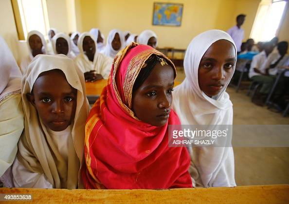 Sudanese students attend a class at the UNICEFfunded Ad Saidna school in the countryside of Kassala in eastern Sudan near the border with Eritrea on...