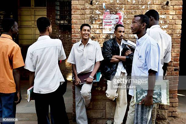 Sudanese university students are seen during a break in between classes on January 10 2007 in Khartoum Sudan Khartoum the capital of Sudan lies at...