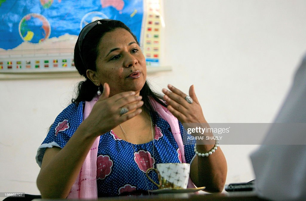 Sudanese-born British film-maker Taghreed Elsanhouri speaks during an interview with Agence France Presse in Khartoum on November 23, 2012. Elsanhouri, whose documentary about last year's partition of Sudan premiered in her homeland on November 22, is leaving footprints for history.