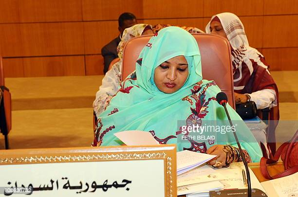 Sudan's First Lady Widad Babiker Omer paticipates during the opening ceremony for the Third Arab Women Organization Conference 'The arab woman in...