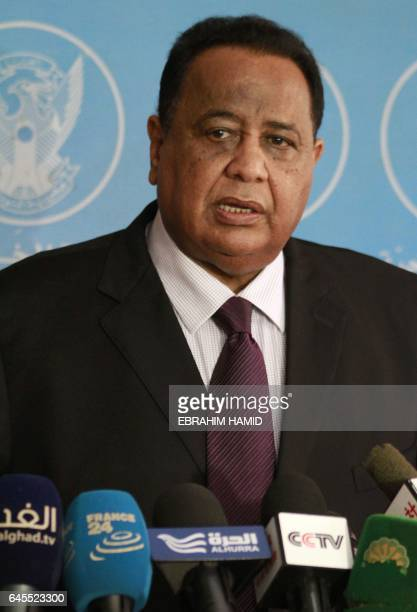 Sudan's Foreign Minister Ibrahim Ghandour speaks to journalists following a meeting with his Czech counterpart in Khartoum on February 26 2017...