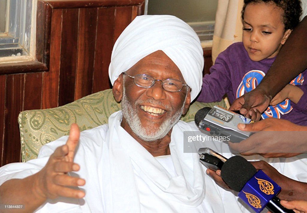 Sudan's Islamist opposition leader <a gi-track='captionPersonalityLinkClicked' href=/galleries/search?phrase=Hassan+al-Turabi&family=editorial&specificpeople=590997 ng-click='$event.stopPropagation()'>Hassan al-Turabi</a>, who helped slain Al-Qaeda mastermind Osama bin Laden settle in Khartoum in the 1990s, speaks to the press in Khartoum on May 2, 2011 following his release after more than three months in jail.