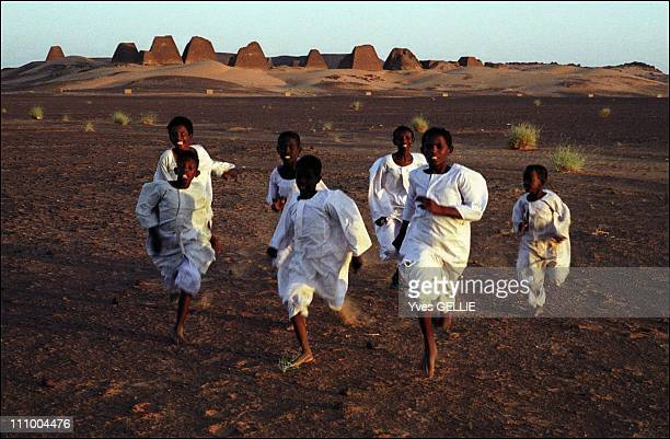Sudan's Merowe dam a new archeological challenge in the Nile Valley in Sudan in July 2004 Royal pyramids of Merowe 250 km off Khartoum the pyramids...