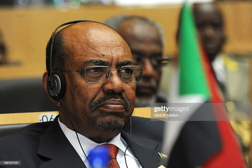 Sudan's president Omar al-Bashir attends the 20th Ordinary Session of the Assembly of the Heads of State and Government (OSOA) during an African Union meeting on January 27, 2013 in Addis Ababa. The first day of the African Union Summit opened today with discussions on Mali troop deployment as well as the ongoing Sudan-South Sudan crisis expected to dominate proceedings.