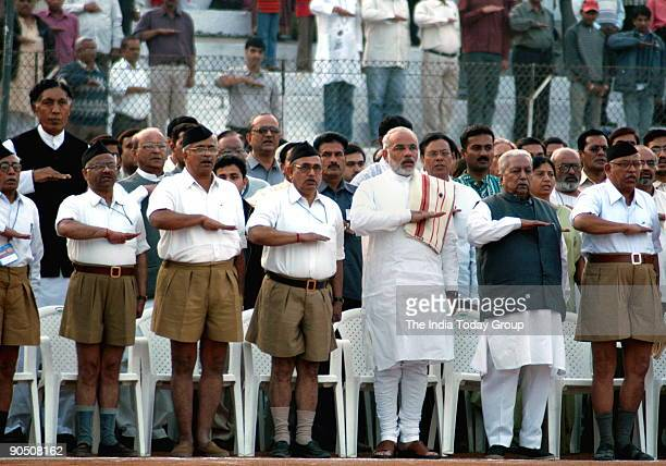 Sudarshan Rashtriya Swayamsewak Sangh Sarsanghchalak Narendra modi Keshubhai patel and others at 29th RSS Vishwa Sangh sivir in Ahmedabad Gujarat...