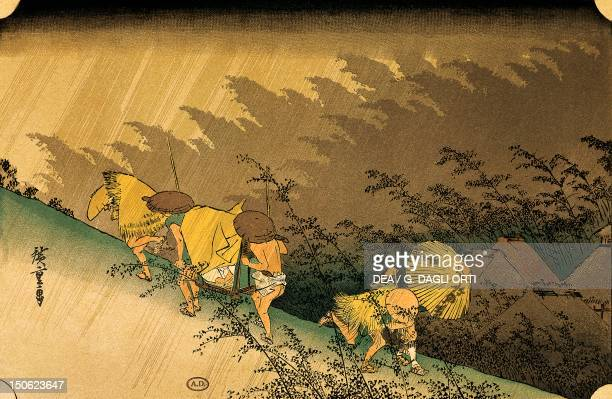 Sudden Rain at Shono by Ando Hiroshige woodcut from The 53 Stations of the Tokaido series Japan 35x22 cm Japanese Civilisation 19th century
