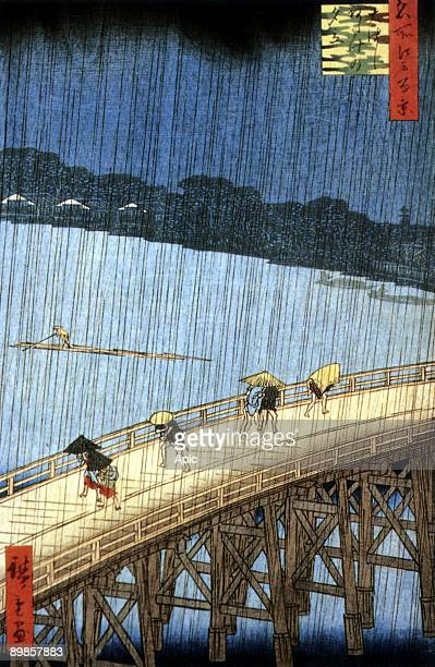 Sudden Shower on Ohashi Bridge and Atake Japan engraving by Ando Hiroshige 1857