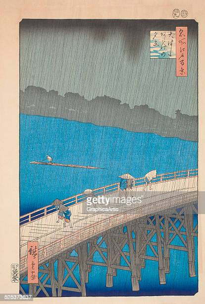 Sudden Shower Over ShinOhashi Bridge from the series 'One Hundred Famous Views of Edo' by Utagawa Hiroshige woodblock print 1857 Japanese title is...