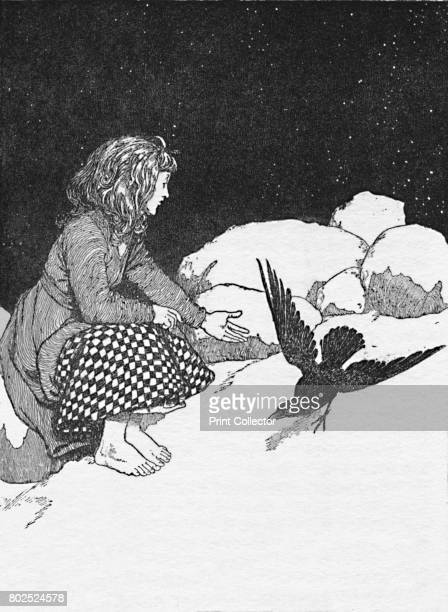 Suddenly a Large Raven Hopped Upon the Snow in front of her' c1930 An illustration from 'The Snow Queen' by Hans Christian Andersen From Hans...