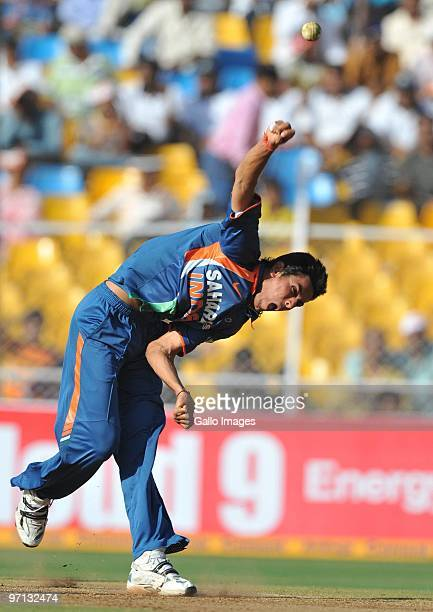 Sudeep Tyagi of India bowling during the 3rd ODI between India and South Africa from Sardar Patel Stadium on February 27 2010 in Ahmedabad India
