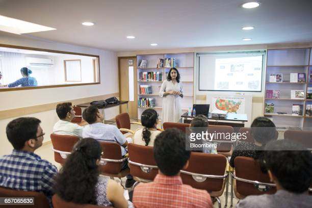 Sudha Kumar director of the India office of the University of Southern California speaks during a counseling session held by USC at the United...