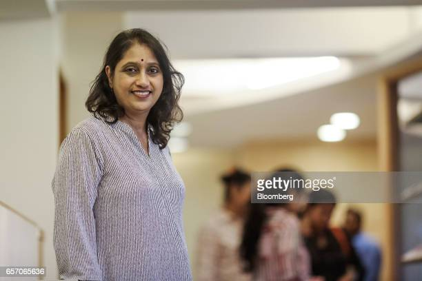 Sudha Kumar director of the India office of the University of Southern California poses for a photograph during a counseling session held by the...