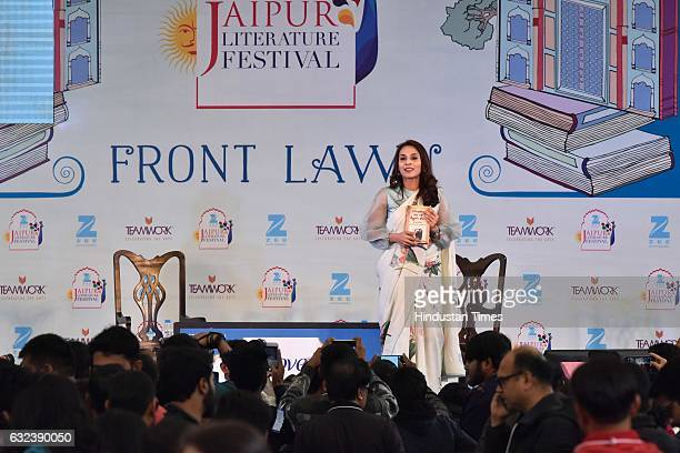 Sudha Sadhanand Aishwaryaa Rajnikanth Dhanush speak at 'Standing on an Apple Box Memoirs and Memories' session at the Jaipur Literature Fest 2017 on...