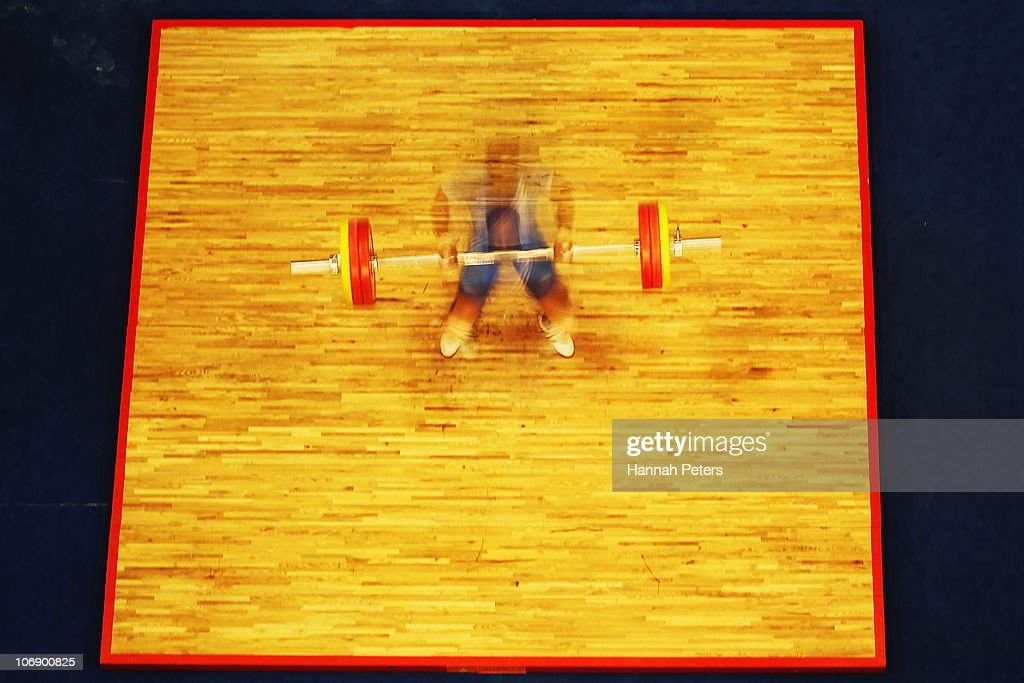 Sudhir Chitradurga of India competes in the Men's Weightlifting 77kg competition during day four of the 16th Asian Games Guangzhou 2010 at Dongguan Gymnasium on November 16, 2010 in Guangzhou, China.
