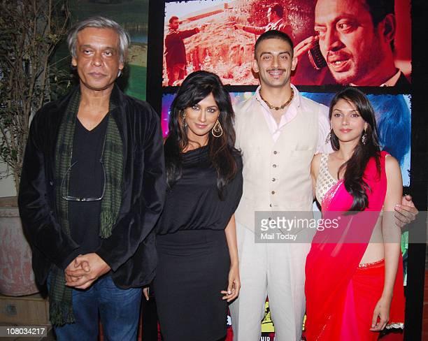 Sudhir Mishra Chitrangada Singh Aditi Rao Hydari and Arunoday Singh at the music launch of the movie Yeh Saali Zindagi at Mariamba Lounge Mumbai on...