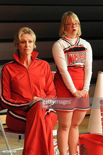 Sue and Becky watch cheer practice in a special episode of GLEE airing after SUPER BOWL XLV on Sunday Feb 6 on FOX