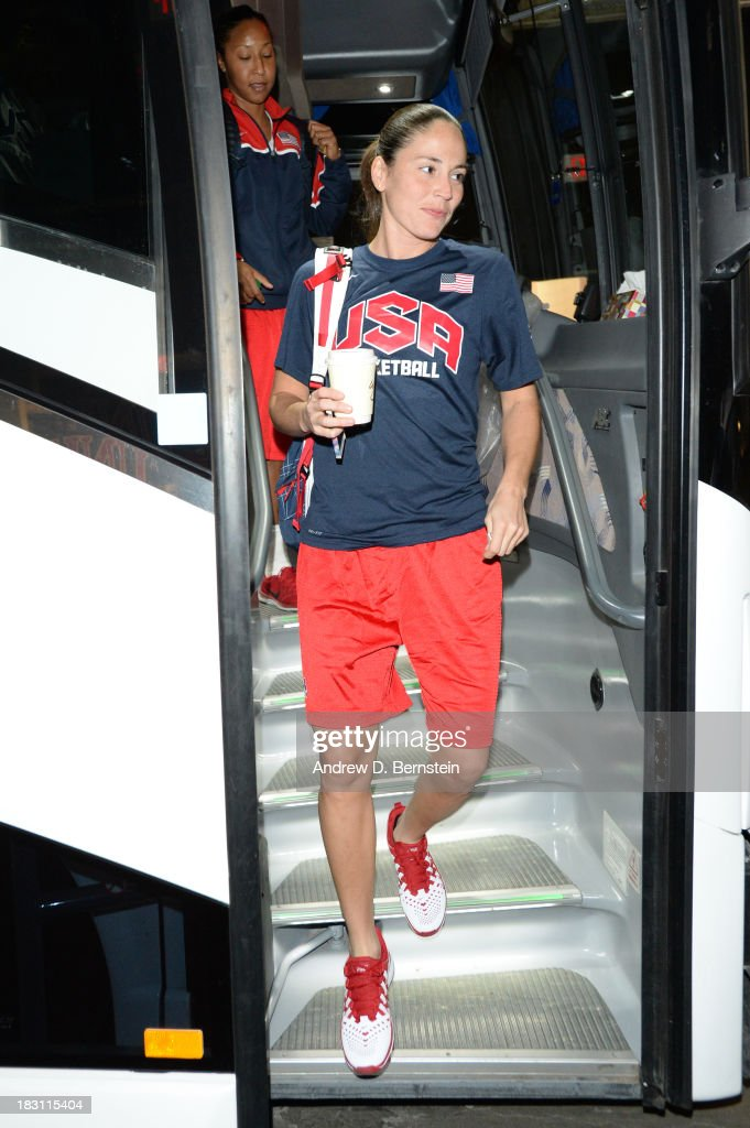 Sue Bird arrives to practice during the USA Womens National Team Mini-Camp on October 4, 2013 at the Cox Pavilion in Las Vegas, Nevada.