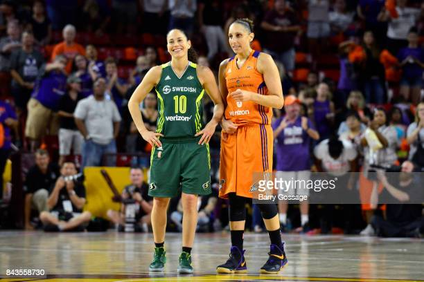 Sue Bird of the Seattle Storm and Diana Taurasi of the Phoenix Mercury look on in Round One of the 2017 WNBA Playoffs on September 6 2017 at Arizona...