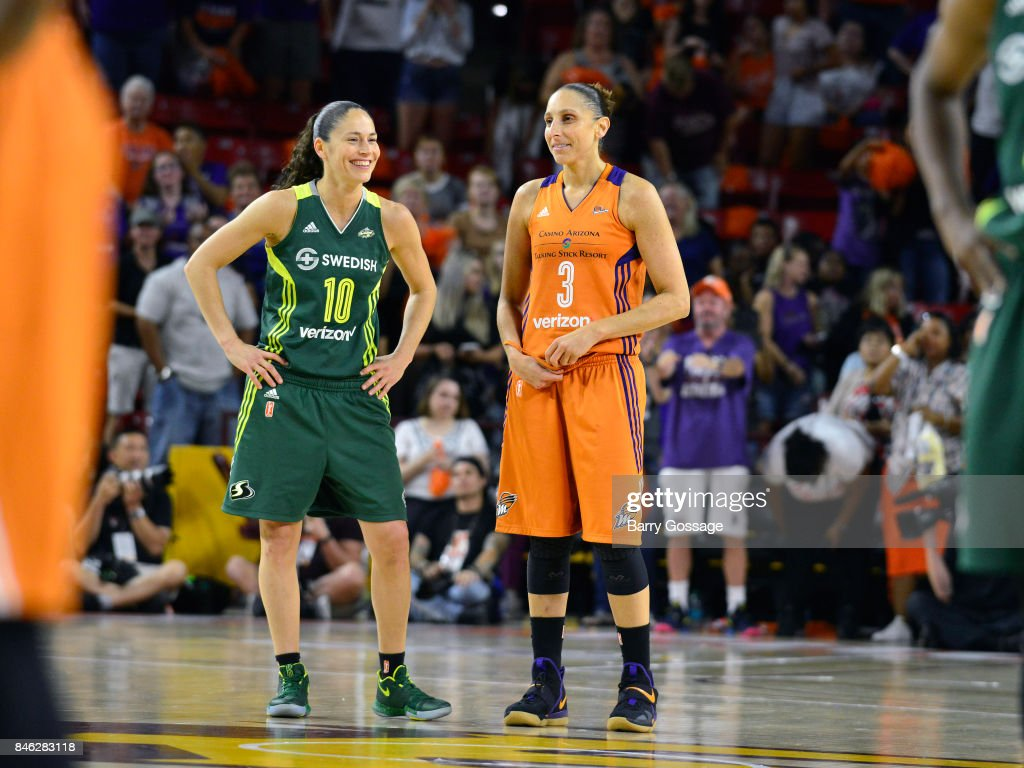 Sue Bird #10 of the Seattle Storm and Diana Taurasi #3 of the Phoenix Mercury look on during the game in Round One of the 2017 WNBA Playoffs on September 6, 2017 at Arizona State University Wells Fargo Arena in Tempe, Arizona.