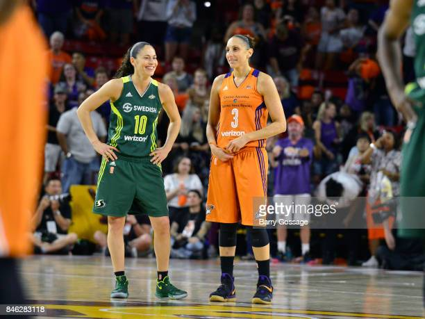 Sue Bird of the Seattle Storm and Diana Taurasi of the Phoenix Mercury look on during the game in Round One of the 2017 WNBA Playoffs on September 6...