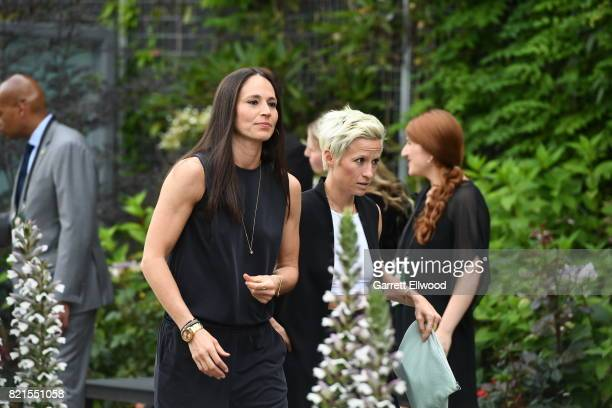 Sue Bird of the Seattle Storm and Megan Rapinoe during the WNBA AllStar Welcome Reception Presented by Visit Seattle as part of the 2017 WNBA AllStar...