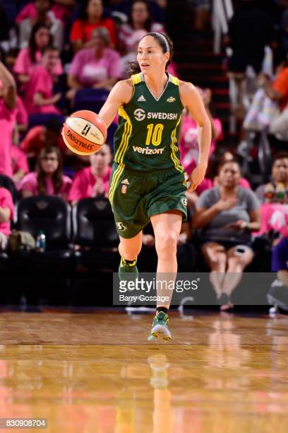 Sue Bird of the Seattle Storm brings the ball up court against the Phoenix Mercury on August 12 2017 at Talking Stick Resort Arena in Phoenix Arizona...
