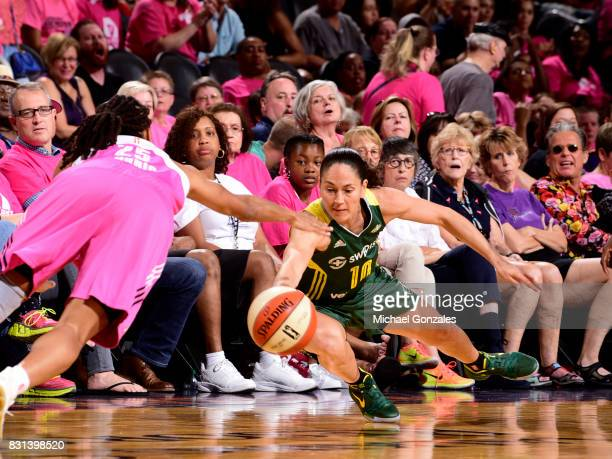 Sue Bird of the Seattle Storm dives for the ball against the Phoenix Mercury on August 12 2017 at Talking Stick Resort Arena in Phoenix Arizona NOTE...