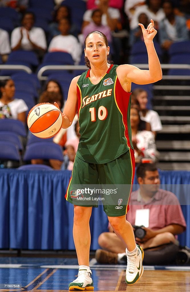 Sue Bird #10 of the Seattle Storm dribbles the ball up court against the Washington Mystics in a WNBA game on June 23, 2006 at the Verizon Center in Washington, DC.