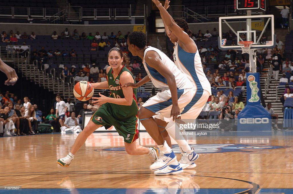 Sue Bird #10 of the Seattle Storm drives during a game against the Washington Mystics at MCI Center on July 23, 2006 in Washington, D.C. The Storm won 73-71.