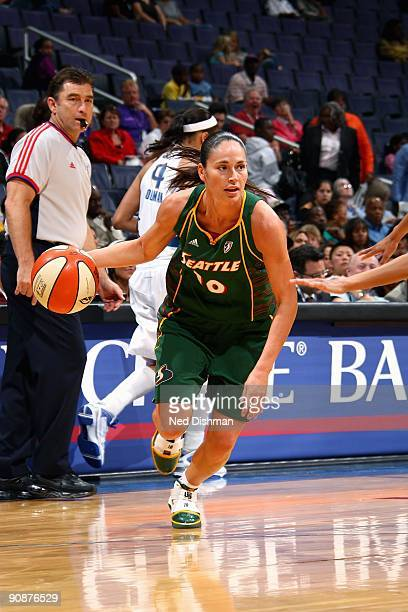 Sue Bird of the Seattle Storm drives to the basket during the WNBA game against the Washington Mystics on September 3 2009 at the Verizon Center in...