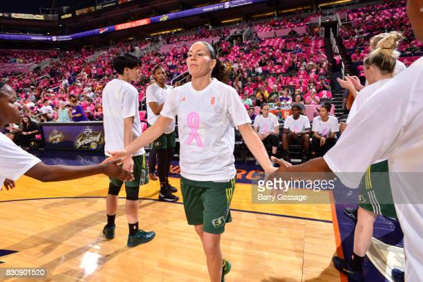 Sue Bird of the Seattle Storm gets introduced before the game against the Phoenix Mercury on August 12 2017 at Talking Stick Resort Arena in Phoenix...