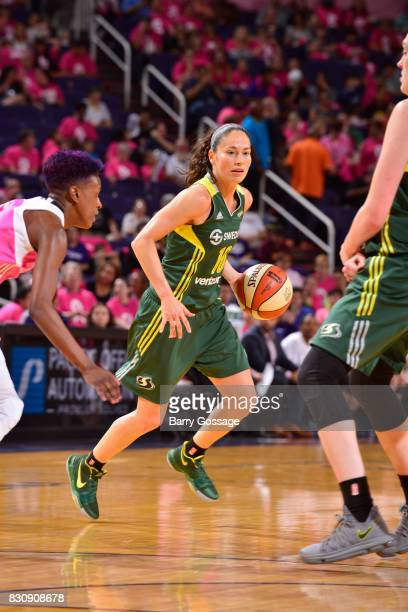 Sue Bird of the Seattle Storm handles the ball against the Phoenix Mercury on August 12 2017 at Talking Stick Resort Arena in Phoenix Arizona NOTE TO...