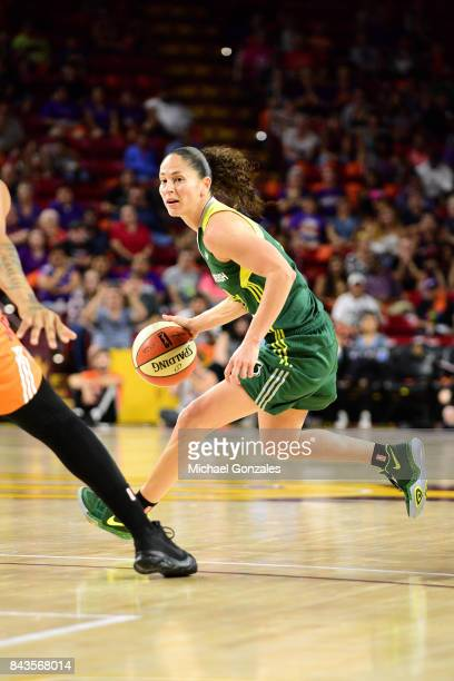 Sue Bird of the Seattle Storm handles the ball during the game against the Phoenix Mercury in Round One of the 2017 WNBA Playoffs on September 6 2017...