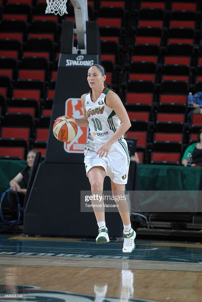 Sue Bird #10 of the Seattle Storm moves the ball up-court against the Indiana Fever on July 31,2014 at Key Arena in Seattle, Washington.