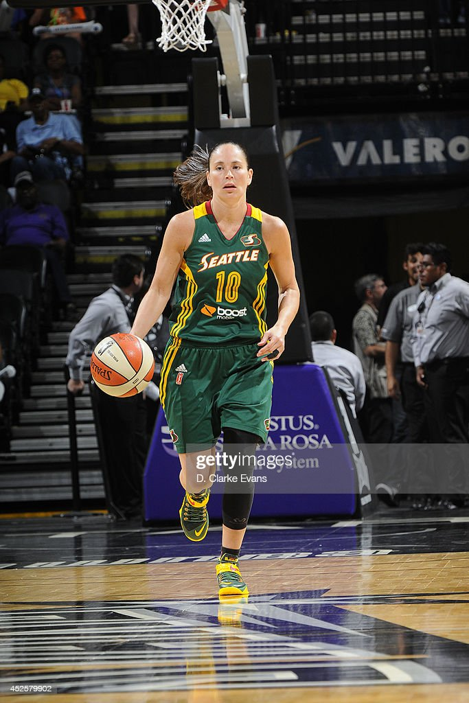 Sue Bird #10 of the Seattle Storm moves the ball up-court against the San Antonio Stars at the AT&T Center on July 11, 2014 in San Antonio, Texas.